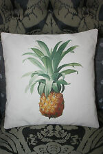 """NEW 100% CREAM COTTON CUSHION COVER PINEAPPLE PRINT PERSONALISED 12 X12"""""""