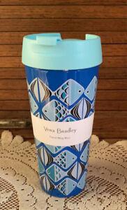 "Vera Bradley ""Go Fish Blue "" 16 oz. Travel Mug NEW"