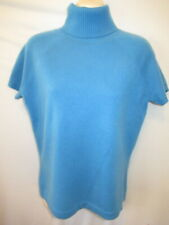 Lord & Taylor 100% 2-ply Cashmere Blue Turtleneck Short Sleeve Sweater M