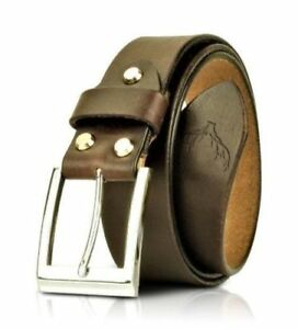 Leather Mens Belts Strap Square Buckle Full Grain Real Brown Tan Jeans Trouser