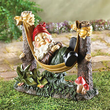 GNOMES: Slumbering Gnome on Hammock Garden Statue Elf Yard Decor NEW