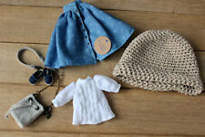 Blythe doll clothes blue white accesories outfit skirt blouse belt footwear bag