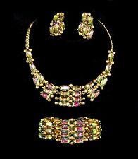 SCHIAPARELLI Tourmaline Aurora Borealis Crystal Necklace Bracelet Clip Earrings