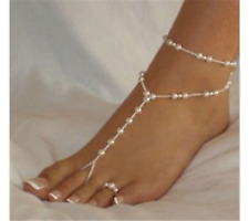 Sandal Wedding Anklet Beach Foot Jewelry 1Pc Lady White Pearl Beaded Barefoot