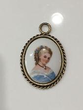 Vinta 00004000 ge Limoges France French Porcelain Portrait Oval Plaque Woman Pendant
