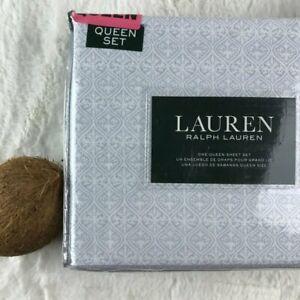 LAUREN RALPH LAUREN Luxury Cotton Geo White/Bluish Printed QUEEN Sheet Set NEW