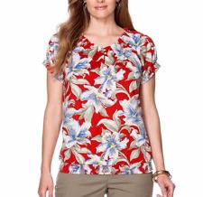 NWT Chaps Denim Women' Plus Peasant Floral Blouse Casual Tops Shirt 1X 2X