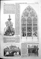 Old Antique Print Monument Archbishop York Huskisson Memorial Window 1855 19th