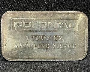 Colonial Silver Bar Made By Engelhard 1 Oz 999 Fine Silver Vintage Bullion Ingot