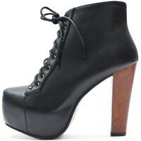Damen Stiefeletten Plateau Boots High Heels Pumps Schwarz Holz Absatz Style
