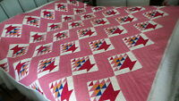 Antique QUILT, FLOWER BASKET, Hand-Quilted, Late 1800's, Vibrant Colors