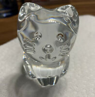 Brand New SIGNED BACCARAT FRANCE CRYSTAL Clear CAT GLASS PAPERWEIGHT $175