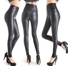 FD4529 □ Ladies' Black Stretchy Leather Look High Waisted Skinny Pants Leggings