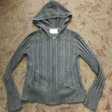 Aeropostale girls thin grey zip up sweater with hood gray long sleeved Size M
