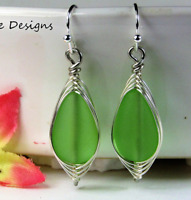 SEA GLASS Teardrop Green Weave Wire SILVER Dangle Earrings USA HANDMADE