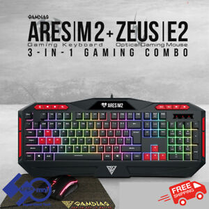 PC Gaming Keyboard+Mouse+Mousepad Combo Multi-Colour Backlight Gamdias Ares M2