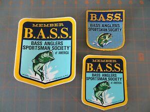 Vintage Mint Bassmaster Old Logo Patch & Sticker Set