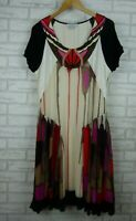 Carlopik Slip dress Sleeveless Brown, red, black, white print Sz French 48