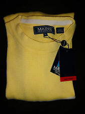 NEW MENS MAINE 100% COTTON YELLOW JUMPER LONG SLEEVE SKI WINTER YACHT CLUB M