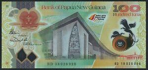 Papua New Guinea 100 Kina P53 2018 APEC logo s/n BD18028926 UNC Polymer