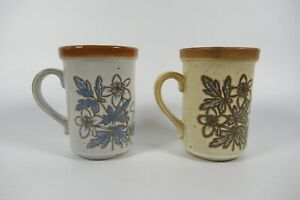 Vintage Ashdale Pottery Stoneware Brown White  Floral Mugs Made in England x 2