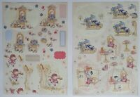 Docrafts Tilly Daydream A4 Die-Cut Decoupage 2pk Sledge Cardmaking Scrapbooking