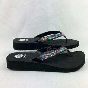 Yellow Box Women's Loralyn Rainbow Thong Sandals Black Size 9.5