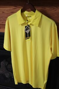 Adidas Men's ClimaLite Lycra Golf Shirt Size M VIVID Yellow NEW