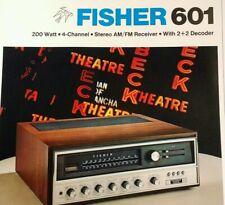 Fisher 601 Stereo Receiver Sales Brochure Original 1971 Rare VHTF Radio Long Isl