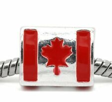 "Enamel Triangle ""Canada Flag"" Charm Spacer Bead"