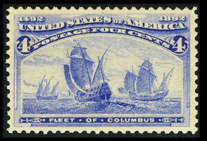 US #233; 4¢ COLUMBIAN, XF-OG-NH, GEM QUALITY SINGLE, PF GRADED (90) CERT