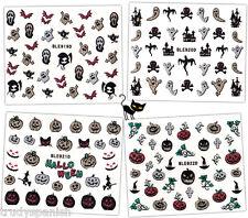 Halloween Nail Art Stickers Decals Skull Bones Crossbones Bat Spiders Pumpkins