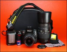 Cámara SLR Nikon D90 D Doble Lente Kit-Canon AF-S 18-55mm Lente 70-300mm & Sigma II