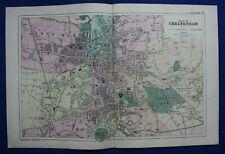 PLAN OF CHELTENHAM, original antique atlas map / city plan, George Bacon, 1895