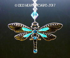 m/w Swarovski Beads + Aqua Dragonfly Car Charm Suncatcher Lilli Heart Designs