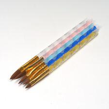 Pro Round Sable Acrylic Nail Art UV GEL Brush Size 4 6 8 10 12 Set Pack of 5