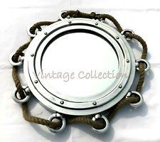 "15"" Aluminium Jute Rope Porthole Mirror Antique Nautical Home Wall Decor Mirror"