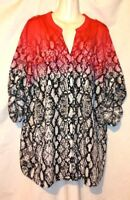 WOMEN'S CALVIN KLEIN SNAKESKIN PRINT ROLL TAB LONG SLEEVE LIGHTWEIGHT BLOUSE 2X