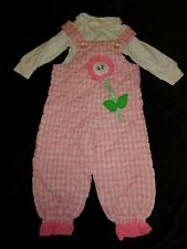 Vintage Picture Story Quilted Overalls w/ Basic Grace Long sleeve Top sz L ~12mo