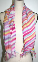 "Ann Taylor Loft Womens Scarf Rectangular Pink Blue Tie Dye Striped 47"" x 21"""