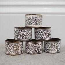 More details for vintage thai napkin rings set x6 bronze copper tone metal white 1970s