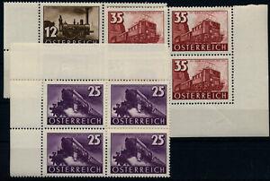 Österreich 1937 646-648 EISENBAHN, komplette Satz 4-BLOCK mit ECKRAND, postfr.**