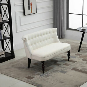 Tufted Armless Fabric Loveseat | Double Seat Sofa Upholstery Living Room Couch