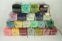 4MM Faux Pearl Plastic Craft BEADS on a String - 18 Feet in a BOX - CHOOSE COLOR