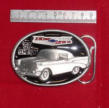 Fibbia belt buckle in metallo Chevrolet Bel Air 1957 smaltata