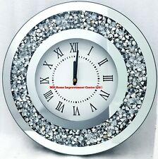 Glänzend Rund Silber Verspiegelt Wanduhr Diamant Zerdrücken Kristall Glitz