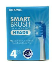 Go Smile Sonic Blue Smart Brush Replacement Heads - 4 Brush Heads - NEW - GS727