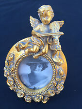 Antique style ANGEL - Gold Photo/Picture Frame Small - 15cm x 9.5cm  ~ NEW TOP Q