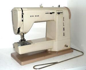 Vintage ELNA ZIG ZAG SUPERMATIC free arm SEWING MACHINE grasshopper tan case