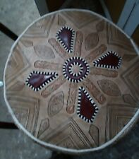 """Moroccan handmade Genuine leather Pouf, Footstool Ottoman pouffe, D19"""" X H10"""""""
